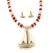 Gold tone Sail Boat Beads Pendant Necklace and Earrings Set