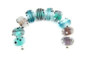 PlanetZia Gorgeous 10pc Collections of Handmade Lampwork Glass Beads for Jewellery Making LW-Mix-A