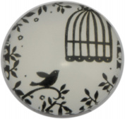 Retro Bird in Cage Print Glass Cabochon, Round, 25mm