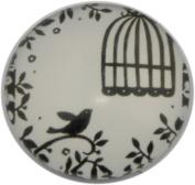 Retro Bird in Cage Print Glass Cabochon, Round, 25mm