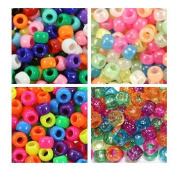 Multicolor Mixes 6 x 9mm Plastic Craft Pony Beads, 4 Bags Variety Pack - 2000 beads, Beads Kit Gift Set