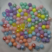 Spring Easter Themed Bulk Party Mix of 20mm Acrylic Bubblegum Beads in Pastel Colours with Bunny Rhinestone Pendant