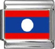 LAOS LAOTIAN FLAG Photo Italian Charm 9mm - 1 x PC096 Single Bracelet Link