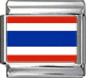 THAILAND THAI FLAG Photo Italian Charm 9mm - 1 x PC175 Single Bracelet Link