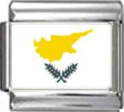 CYPRUS CYPRIOT FLAG Photo Italian Charm 9mm - 1 x PC044 Single Bracelet Link