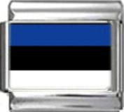 ESTONIA ESTONIAN FLAG Photo Italian Charm 9mm - 1 x PC057 Single Bracelet Link