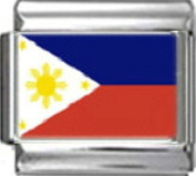PHILIPPINES FILIPINOS FLAG Photo Italian Charm 9mm - 1 x PC140 Single Bracelet Link