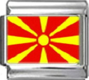 MACEDONIA MACEDONIAN FLAG Photo Italian Charm 9mm - 1 x PC105 Single Bracelet Link