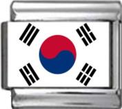 SOUTH KOREA STH KOREAN FLAG Photo Italian Charm 9mm - 1 x PC163 Single Bracelet Link