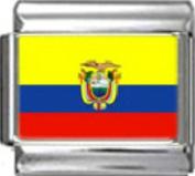 ECUADOR ECUADORIAN FLAG Photo Italian Charm 9mm - 1 x PC051 Single Bracelet Link