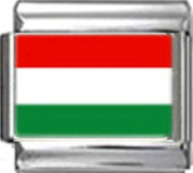 HUNGARY HUNGARIAN FLAG Photo Italian Charm 9mm - 1 x PC078 Single Bracelet Link
