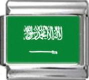 SAUDI ARABIA FLAG Photo Italian Charm 9mm - 1 x PC152 Single Bracelet Link