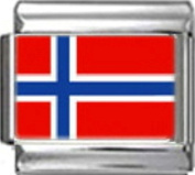 NORWAY NORWEGIAN FLAG Photo Italian Charm 9mm - 1 x PC133 Single Bracelet Link
