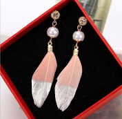 Leiothrix Fashion Handmade Feather Earrings in Pink & Silver for Women and Girls Apply to Wedding Party Casual