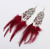 Leiothrix Fashion Bohemia Tassel Feather with Breads Alloy Red Earrings for Women and Girls Apply to Wedding Party Casual