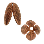 Nunn Design Bead Caps, Grande Leaf 14mm, 2 Pieces, Antiqued Copper