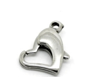 5PCs Silver Tone Stainless Steel Heart Lobster Clasps 13mmx11mm