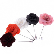 BT-RSTT Pack of 5 Men's Lapel Pin Flower Handmade Boutonniere for Suit