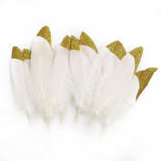 Ling's moment Glitter Gold Dipped White Natural Goose Feathers for Arts and Crafts in Bulk, Christmas Crafting Decoration, 12pcs