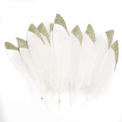 Ling's moment Champagne Gold Dipped White Natural Goose Feathers for Arts and Crafts in Bulk, Christmas Crafting Decoration, 12pcs