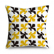 FabricMCC Chic Modern Black & Yellow Damask Pattern Square Accent Decorative Throw Pillow Case Cushion Cover 18x18