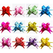 AUCH Elegant/Beautiful Assorted Colours PVC Pull Bows/Christmas Gift Knot with Ribbon Strings to Wrap the Box or Floral Decoration, Random Colours and Patterns, Pack of 100
