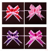 AUCH Elegant Festival Large Size Assorted Colours PVC Pull Bows/Christmas Gift Knot with Ribbon Strings to Wrap the Box or Floral Decoration,Pack of 40