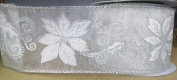 White Sheer Poinsettia Ribbon - Christmas - 3 Yards