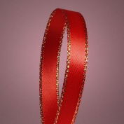 0.6cm Red Satin Ribbon with Gold Edges 50 YDS