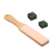 AMPSEVEN Wood Handle Leather Strop Sharpening Tools with Polishing Compounds