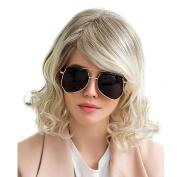 Asifen Fashion Long Curly with Side Bangs Human Hair Wigs for Women