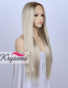 K'ryssma Fashion Ombre Blonde Glueless Lace Front Wigs 2 Tone Colour Dark Roots Side Part Long Natural Straight Heat Resistant Synthetic Hair Replacement Wig For Women Half Hand Tied 60cm