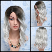 Fashion Black Mixed White Side Parting Medium Wavy Fashion Synthetic Hair Wig For Women