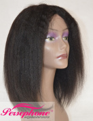 Persephone Best Italian Yaki Short Bob Wig Human Hair Invisible Deep Middle Parting Indian Remy Lace Wig for Black Women 150% Density 36cm #1B