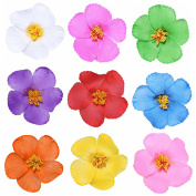 Youbami 8.9cm Hawaiian Hibiscus Foam Flower Hair Clips For Luau Party Favour Event Decoration Set Of 9 Pcs