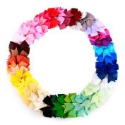Eachbid 40pcs Colour Mini Lovely Bowknot Colour Mixing Hair Decoration Clip Ribbon Hair Bows