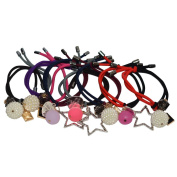 Bzybel Thick Floral Stretch Pony Elastics Ponytail Holders Hair Ties