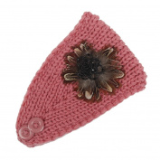 Hunputa New Fashion Womens Girl Flower Beads Knit Ear Warmer Wide Headband Hair Wrap