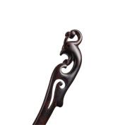 Vintage Ebony Handmade Carved Black Wood Hairpin Hair Stick Retro Chignon Pin China Phoenix