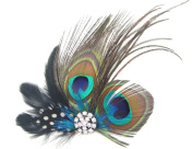 Goege Peacock Feather Hair Clip with Rhinestones For Birthday Christmas Gift Hiarband Headwrap Hair Band Accessory
