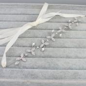 Handmade Rhinestone Silver Crystal Diamond Wedding Bridal Headband with Ivory Ribbon Belt