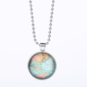 Fheaven Vintage Map Glass Necklace Pendant with Ball Chain Necklace