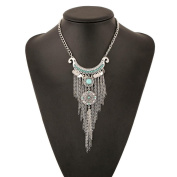 Fheaven Bohemian Gypsy Style Turquoise Tassel Long Chain Pendant Necklace