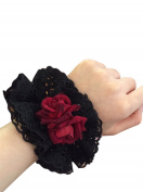 Nuoqi Gothic Lolita Maid Red Roses Lace Headwear Hair Bands Accessories