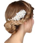 Meiysh Handmade Tulle Flower Simulated Pearls Bridal Hair Combs Wedding Hair Accessories