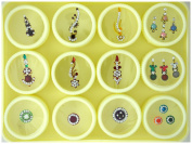 Crystal Bindi Tattoo Dot Stickers Assorted Set of 19 Adhesive Body Jewellery