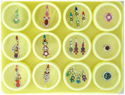 Crystal Bindi Tattoo Dot Stickers Assorted Set of 12 Adhesive Body Jewellery
