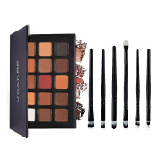 Ucanbe Matte Eyeshadow Palette with Pro Eye Makeup Brushes Set - 15 Colours Natural Nude Warm Neutral Eye Shadow Kit