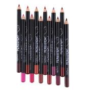 Hjuns12pcs/Set Waterproof Lip Liner Pencil Long Lasting Lipliner Makeup Tools