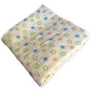 Muslin Swaddle Blankets 4 Layer - Seben Baby - 120cm x 120cm - 100% Cotton - Stars with Green - Unisex for Boys or Girls